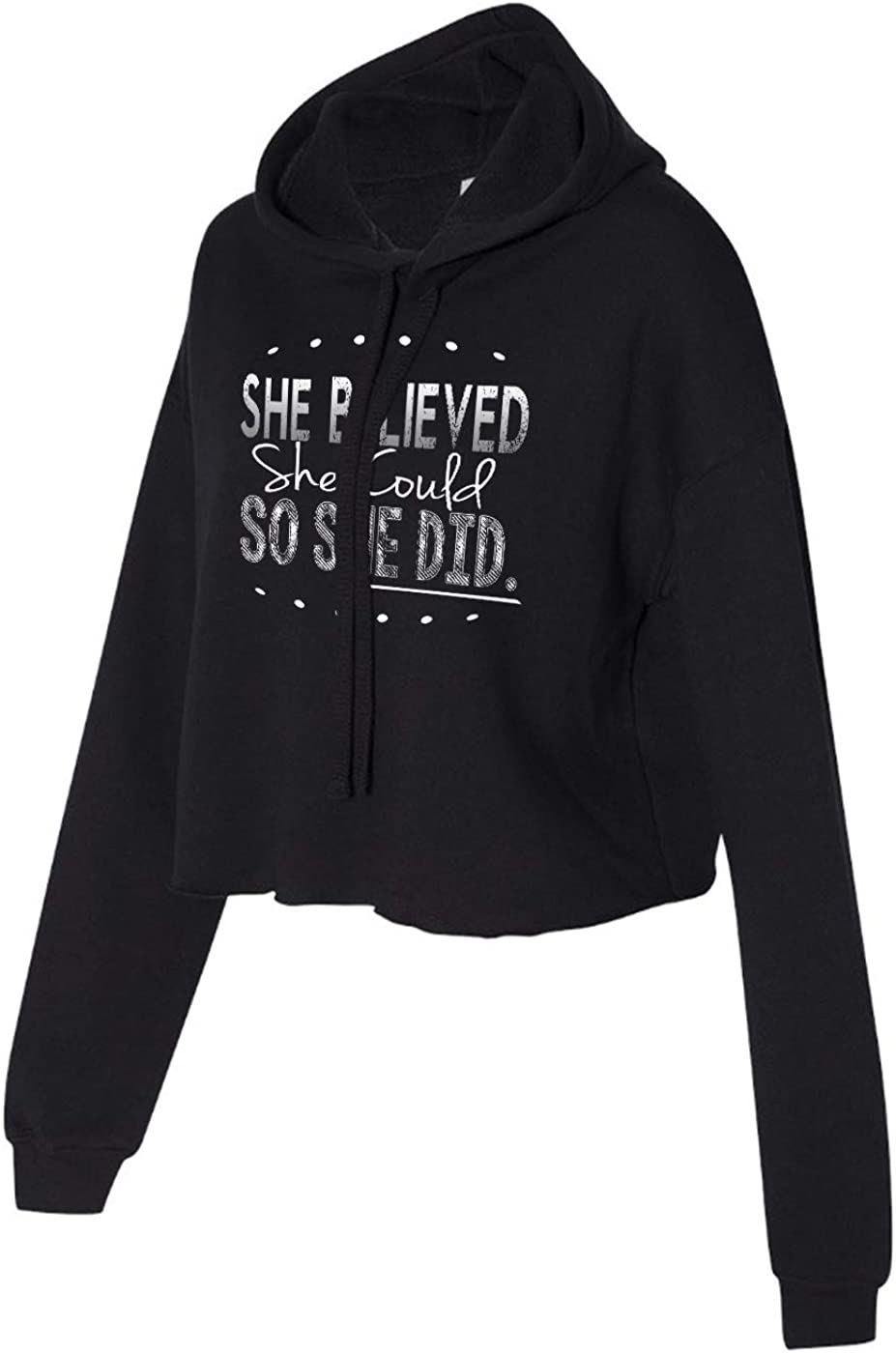 Running On The Wall She Believed she Could so she did Cropped Hoodie for Athletic Teen Girl
