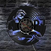 XDG DJターンテーブルヒップホップウォールクロックナイトクラブミュージッククラブウォールアートヴィンテージビニールレコードウォールクロックミュージックラバーDJボーイフレンドギフト(サイズ:LED付き12インチ)
