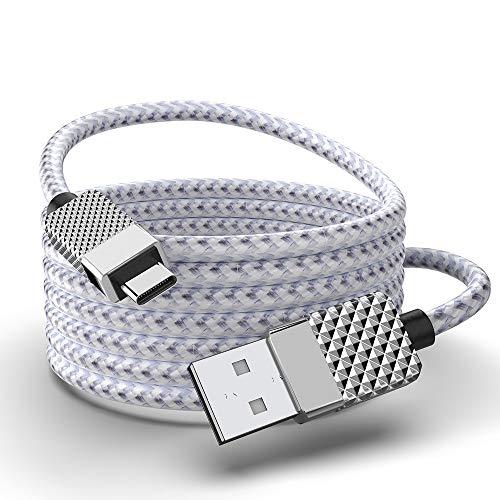 26FT Typ C Ladekabel, USB C Kabel Schnellladegerät Extra langes USB Kabel Kompatibel mit Samsung Galaxy A10/A20/A51/S10/S9/S8 Plus/Note 9/8, LG V50 V40 G8 G7 Thinq, Moto Z (Silber)