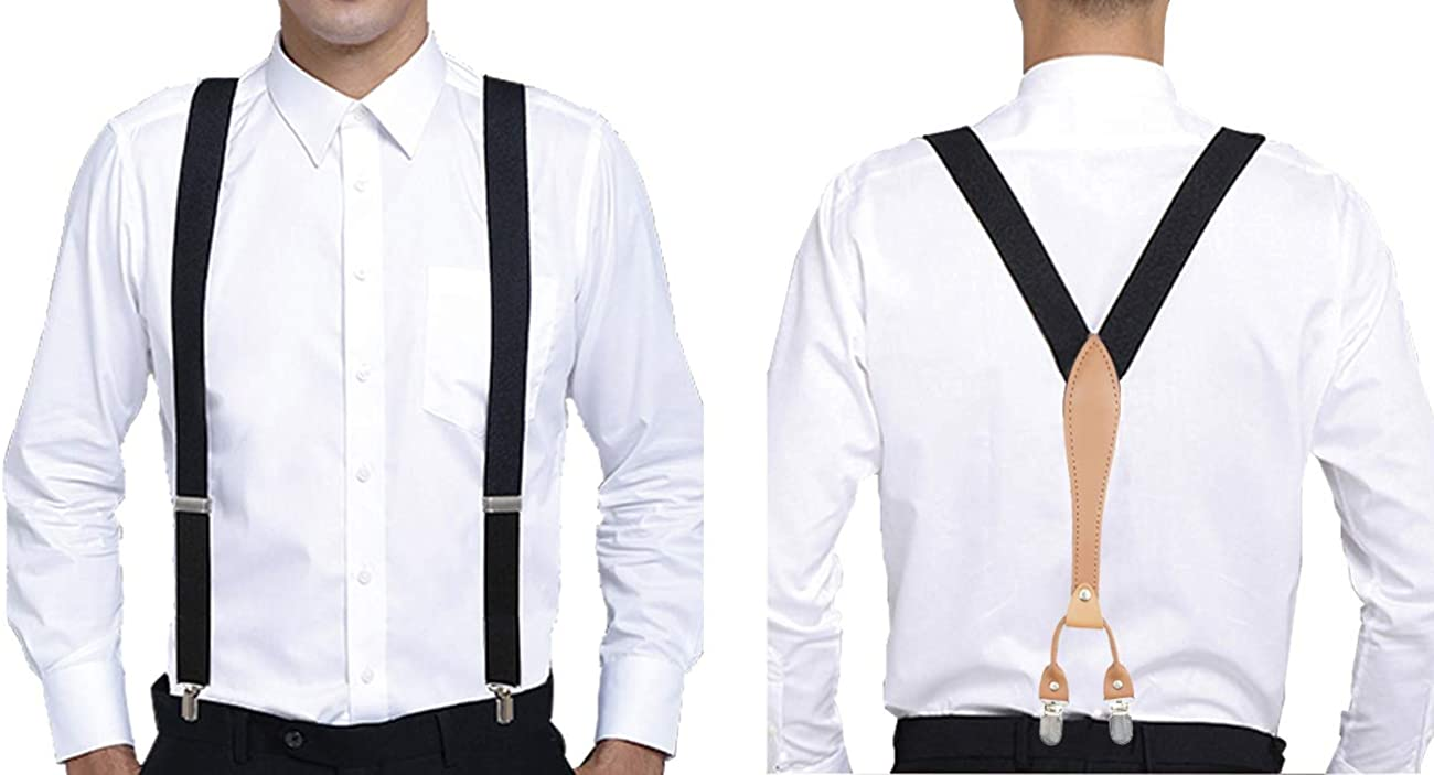 1 inch Solid Suspenders Polyester Material with 4 Clips for For Wedding or Formal Events