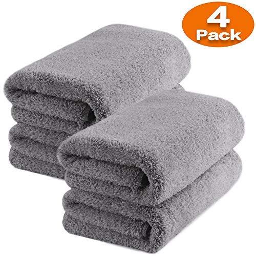 TAGVO Toallas de Microfibra Premium para la Limpieza de Coche, Toalla de Felpa de Microfibra Sin Bordes 40x40 cm para el Secado, Lavado, Pulido y Encerado (Toalla x4)