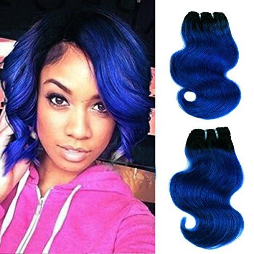 FASHION LINE 8' Human Hair Bundles Ombre Two Tone Brazilian Virgin Hair Extensions Body Wave (4 bundles, 1b/blue)