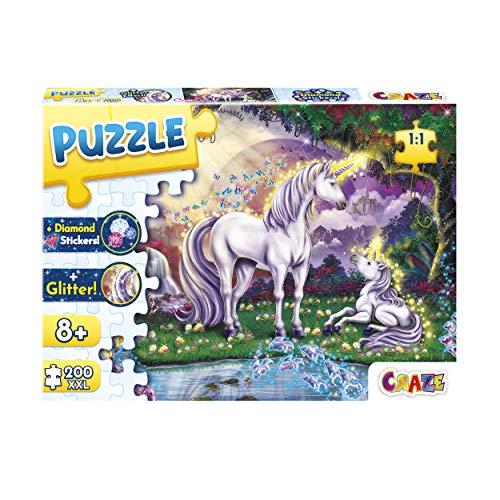 CRAZE 30226 Mystic Lake 200+ Teile mit Glitzerdruck und Diamanten Puzzle für Kinder ab 8 Jahren, 30196, Glitzereffekte + Aufkleber