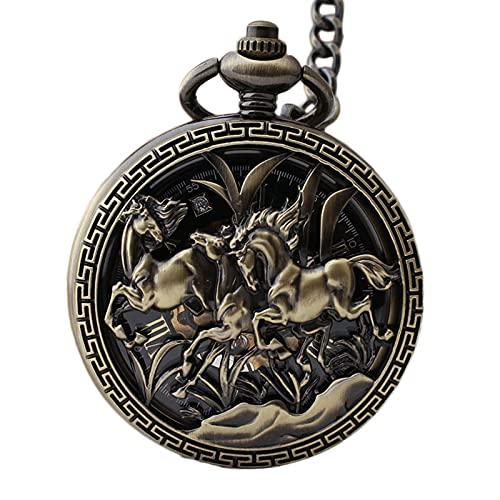 XGJJ Reloj de bolsillo estilo chino vintage grabado patrón hueco Clamshell estudiante hombres ancianos reloj mecánico con cadena
