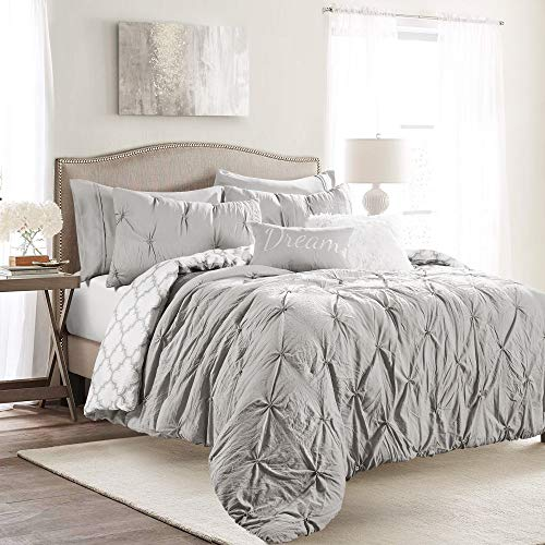 Lush Decor, Light Gray Ravello Pintuck Caroline Geo 7 Piece Comforter Set, Full/Queen