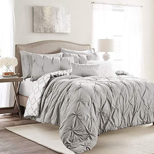 Lush Decor, Light Gray Ravello Pintuck Caroline Geo 7 Piece Comforter Set, Full/Queen