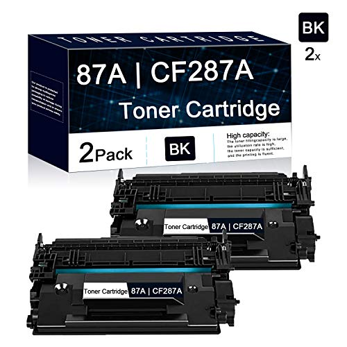 2 Pack Black 87A | CF287A Compatible Toner Cartridge Replacement for HP Laserjet Managed M506dnm, M506xm,MFP M527f ; Pro Flow MFP M527c, M501dn ;Pro Enterprise M506n,M506dn,MFP M527dn Printers.