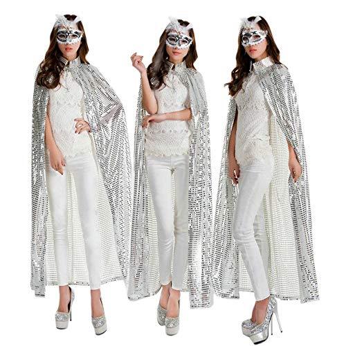MU Halloween Pailletten Farbe Mantel Cos Kleidung Prinzessin Königin Schönheit Auszeichnungen Mantel Bühnenshow,Silber,Einheitsgröße