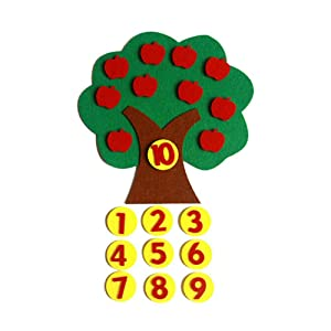 Baby Felt Apple Tree Math Toy Early Learning Education Number Matching Montessori Toy Kindergarten Teaching Aids for Kids Children DIY Craft Ornament