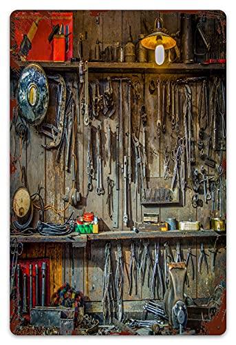 DECISAIYA Vendimia Cartel de Chapa metálica Herramientas Vintage colgadas en una Pared en un cobertizo o Taller de Herramientas Placa Póster,Decoraciones de de Pared de Hierro Retro 20x30cm