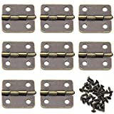 Mini Retro Hinges, OZXNO 8 PCS Rectangle Antique Bronze Jewelry Box Hinges with Screws for Gift Case Dollhouse Cabinet DIY Model - 18 x 16 mm