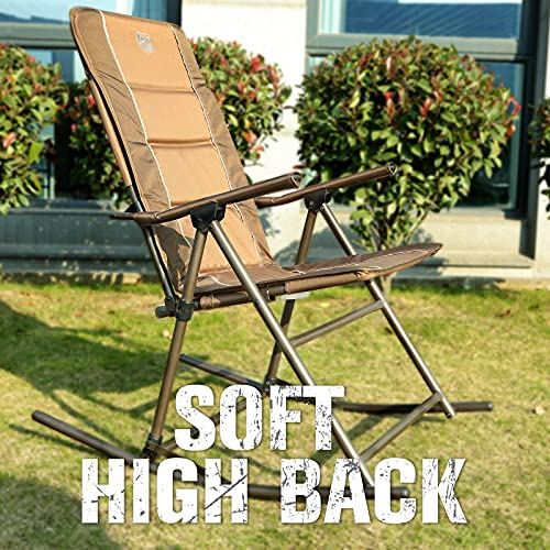 TIMBER RIDGE Foldable Rocking Chairs with High Back, Collapsible Rocking Chairs Hard for Outdoor and Indoor, Support up to 300 lbs