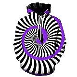 Sudaderas con Capucha Divertidas para Hombres Sudadera con Estampado 3D Creativo Sudadera Informal con Capucha con Estampado en Espiral en Blanco y Negro L