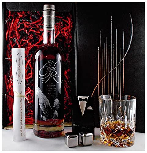 Geschenk Eagle Rare 10 Jahre Kentucky Straight Bourbon Whiskey + 2 Whisky Kühlsteine + Glas