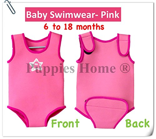Toddler Swimwear Kids Baby Thermal Wetsuits UPF 50+ Snorkeling Float Keep Warm Swimsuits Swimming Suit (Pink)