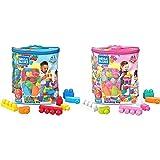 Mega Bloks Bolsa clásica con 80 Bloques de construcción, Juguete para bebé + 1 año Mattel DCH63 + Juego de construcciones 80 Piezas con Bolsa ecológica Rosa, Juguete bebé +1 año (Mattel DCH62)