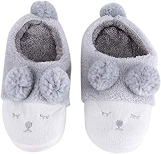 Winter Warm Short Plush Indoor Slippers Cute Cartoon Sheep Lamb Soft Indoor Home Wear Slippers House Shoes Soft Sole Women Indoor Shoe Couples House Slipper(36-37 EU/ 6-6.5 US-Gray)