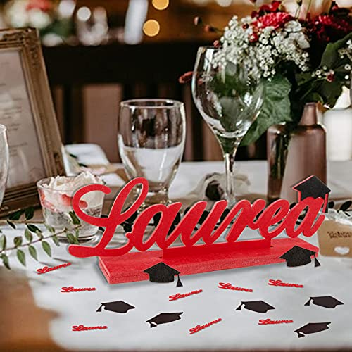 Decorazioni Laurea Centrotavola laurea 50 pcs Coriandoli Laurea Cappello Addobbi Festa Laurea Nero Rosso Gadget Laurea da Tavolo