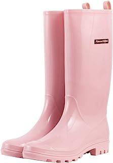 planone Botas de lluvia altas para mujer y zapatos de jardín impermeables, botas de lluvia antideslizantes para mujeres co...