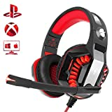 Beexcellent Cuffie Gaming per Xbox One PS4 PC, Riduzione del Rumore Comfort Stereo Sound 3,5 mm LED Cuffie Over Ear Professionali con Microfono per laptop Tablet Mac Smart Phone(Rosso)