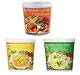 Cock Brand - set de degustación de pastas al curry - paquete de 3 (3 x 400 g) - 3 variedades, 1 lata cada una Verde, amarilla, pasta de curry Matsaman