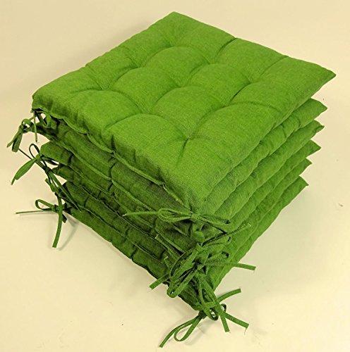 Rattani - Set 6 x Stuhlkissen/Sitzkissen Fabia mit Schleifen 40 x 40 cm Dicke 5 cm, Fb. dunkelgrün, Baumwolle/Polyester 80/20% - Made in EU