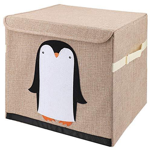 DASFOND Cajas de Almacenaje, Organizadoras de Juguetes, Cubos Plegables con Asas, para Habitación de Niños, Sala de Juegos, 30 x 30 x 30 cm, Patrón de pingüino