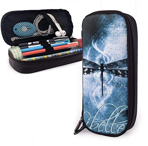 Black Dragonfly Leather Pencil Case Pouch Zippered Pen Box School Supply for Students,Big Capacity Stationery 3D Nanotechnology Printed Box for Girls Boys and Adults