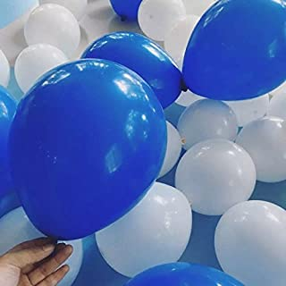 100 PCS White& Royal Blue Balloons 12 Inches Latex Round Balloons for Wedding Party Birthday Decorations Kids Toys
