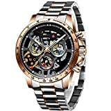 HAIQIN Men's Skeleton Automatic Watches for Men Stainless Steel Band Waterproof Sport Black Face Watch with Ruby and Unique Three-Color Small Dial