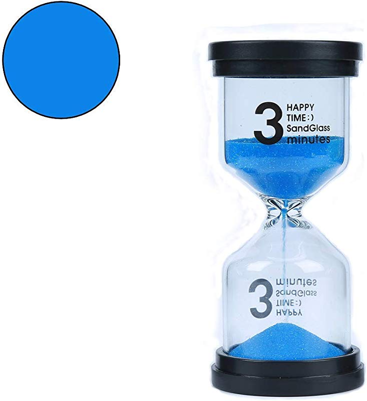 Veoley 3 Minutes Sand Timer Hourglass Sandglass Sand Clock For Games Classes Toothbrushing Workout Blue