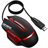 VicTsing 6-Button Wired Gaming Mouse with Colorful LED Backlit, 4 Adjustable DPI Level (3200/2400/1600/1000), USB Wired Mouse for Both Office and Gaming, Compatible with PC, Mac and Laptop