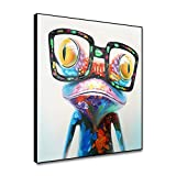 Renaiss 20x20 Inches Happy Frog with Glasses Painting Cute Animal Cartoon Pictures Oil Painting Hand Painted on Canvas Colorful Framed Artwork for Living Room Kids Room Nursery Room Decor Unframed