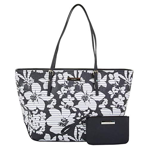 Nine West It Girl Isadore Cruise Tote with Pouch (Black Floral)