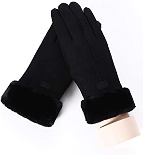 New Winter Female Lace Warm Cashmere Three Ribs Cute Bear Mittens Double Thick Plush Wrist Women Touch Screen Driving Gloves Women's Gloves