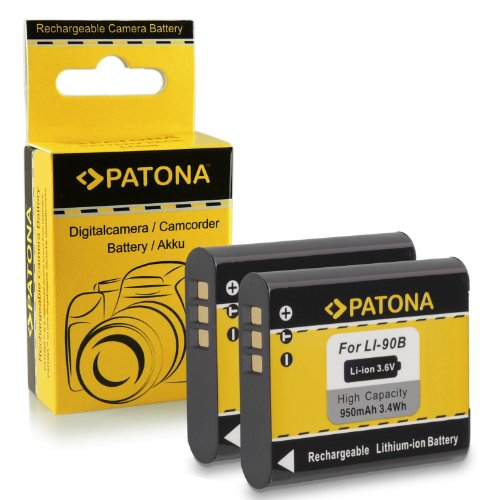 2x Batería Li-90B para Olympus Stylus Creator XZ-2 | Stylus Traveller SH-50 | Stylus Tough TG-1 / TG-2