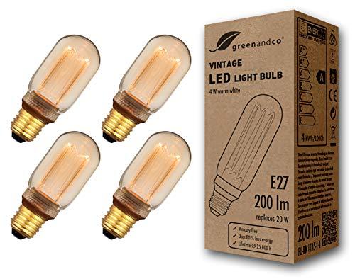 4x greenandco® Vintage Design LED Lampe im Retro Stil zur Stimmungsbeleuchtung E27 T45 Edison Glühbirne, 4W 200lm 1800K extra warmweiß 320° 230V flimmerfrei, nicht dimmbar, 2 Jahre Garantie
