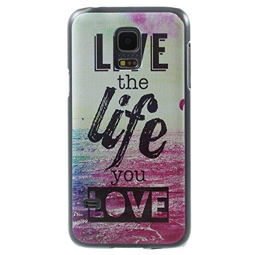 Preisvergleich Produktbild [A4E] Handyhülle passend für Samsung Galaxy S5 mini (G800) Schutzhülle Hülle Hartschale mit Meer Stand Motiv und 'Live the life you love' Slogan (weiß,  grün,  blau,  rot,  schwarz)