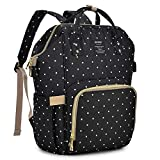 Qimiaobaby Changing Bag Backpack Waterproof Travel Baby Diaper Bag, Stylish Large Capacity Nappy Backpack with Changing Mat and Stroller Straps (Black dots)