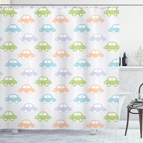 ABAKUHAUS Auto Duschvorhang, Niedliches Pastell Cars Pattern, mit 12 Ringe Set Wasserdicht Stielvoll Modern Farbfest & Schimmel Resistent, 175x220 cm, Mehrfarbig