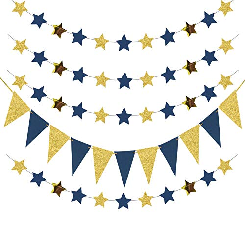 Outer Space Decorations Birthday Party Decorations Navy Gold Triangle Banner 2pcs Navy Blue Glitter Gold Paper Star Garlands Star String for Prince Twinkle Twinkle Little Star Baby Shower Decorations