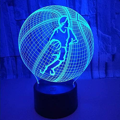 JAOSY 20 * 13 cm Baloncesto 3D Estéreo USB Lámpara de Mesa LED Luz de Noche Colorido Gradiente táctil Control Remoto Mesita de Noche Decoración de ensue?o Cumplea?os Regalo de Cumplea?os
