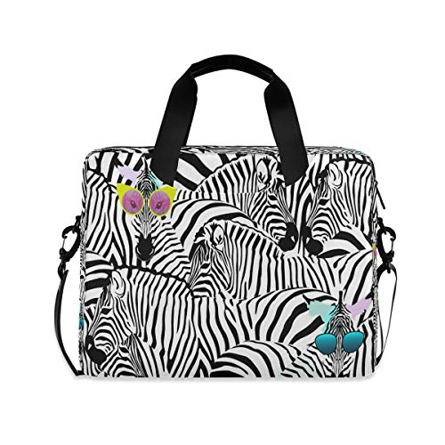 ALARGE Laptop Case Sleeve Geometric Abstract Animal Zebra Pattern 15-16 inch Briefcase Travel Tote Messenger Notebook Computer Crossbody Bag with Strap Handle for Women Men