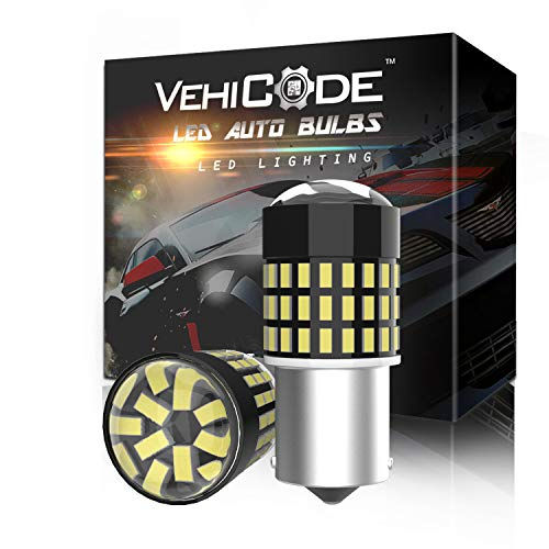 VehiCode 1156 LED Bulb White Super Bright Kit 12V-24V 7506 93 P21W 1073 3497 BA15S Single Contact Replacement with Projector for Car Automotive Reverse Backup DRL Lawn Mower Headlight (2 Pack)
