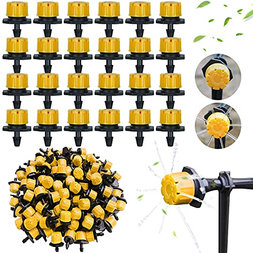 "Kalolary 200 Stück Bewässerung Tropfer, 1/4\"" Bewässerungs Sprinkler Einstellbar, Micro Flow Tropfbewässerung Tropfer Kopf, Garten Bewässerung Micro Drip Bewässerungssystem Garten Bewässerungsset-Gelb"