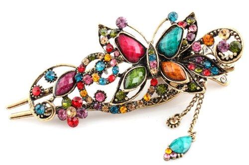 Barrette à cheveux multicolore pour femme - Style vintage - Papillon - Perles incrustées - Pour queue de cheval