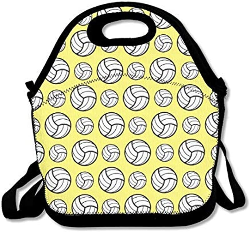 Volleyball Sport Pattern Lunch Bags With Shoulder Strap Insulated Neoprene Lunch Tote Bag For Women Lunch Boxes For Kids