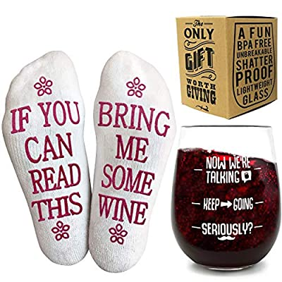 Funny Gifts for Women - Funny Wine Glass + Wine Socks