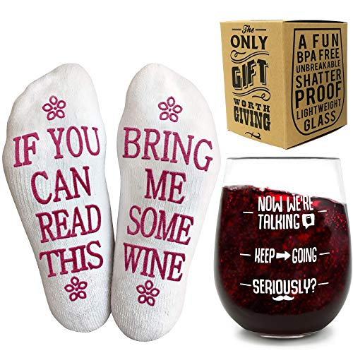 Unbreakable Funny Wine Glass + Gift Box – Durable, 16 oz / 450mL, BPA...