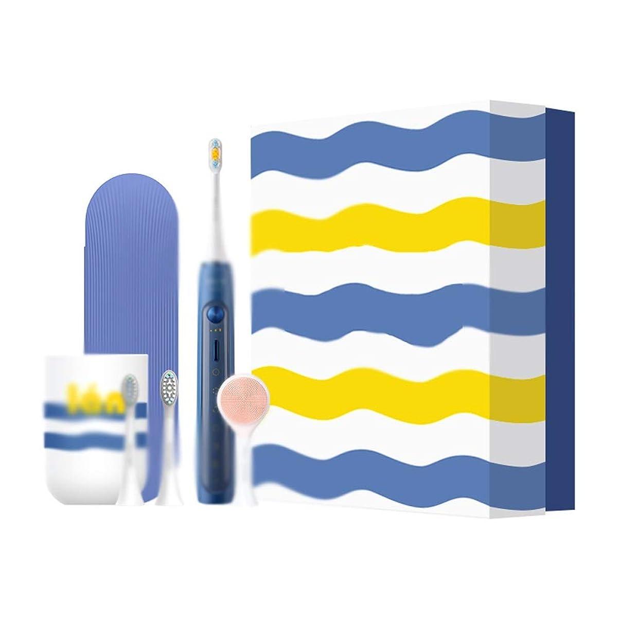 有用ヒープはぁJia Xing 電動歯ブラシインテリジェントホワイトニング誘導充電式自動防水トラベルギフトボックス化電動歯ブラシヘッド超音波 電動歯ブラシ (Color : Blue)